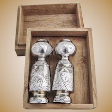 Vintage Engraved Geisha Girls Salt Pepper Shakers 1960