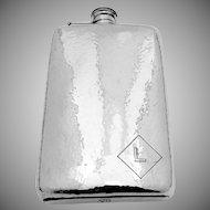 Vintage Large Hammered Liquor Flask Sterling Silver