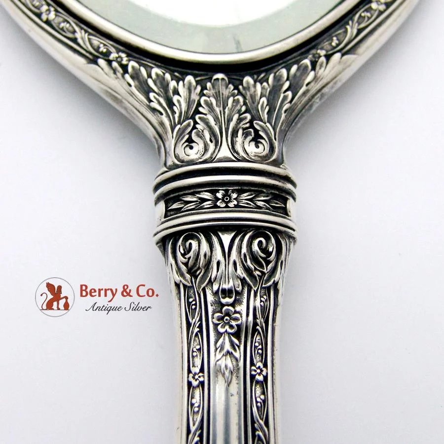 Vintage Large Hand Mirror International Sterling Silver