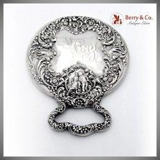 Vintage Cherub Floral Scroll Hand Mirror Unger Bros Sterling Silver 1900