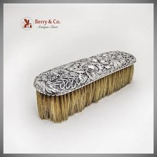 Floral Repousse Clothes Brush Gorham Sterling Silver 1890