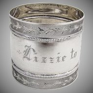 American Coin Silver Beaded Napkin Ring Milled Engraved Rims 1875