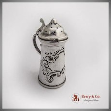 Miniature Tankard Form Salt Pepper Shaker Sterling Silver 1890