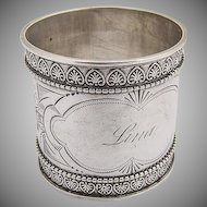 Vintage Engraved Napkin Ring Coin Silver 1890
