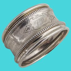 Vintage Engine Turned Napkin Ring Beaded Rim Coin Silver 1880