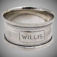 Webster Art Deco Napkin Ring Sterling Silver 1940