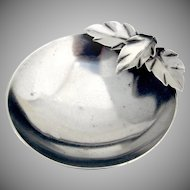 Hand Made Applied Leaf Round Dish Ball Feet Sterling Silver Wheelock 1940