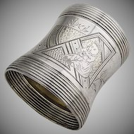 Aesthetic Engraved Napkin Ring Waisted Body Ribbed Edges Coin Silver 1875