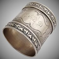 Vintage Engraved Napkin Ring Grapevine Rim Coin Silver 1880
