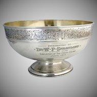 Important Centerpiece Bowl Engraved Border Gorham Sterling Silver