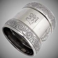 Aesthetic Engraved Arabesque Napkin Ring Gorham Sterling Silver 1885