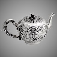 Baroque Floral Scroll Teapot Simon Rosenau 800 Standard Silver 1890