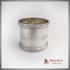 Vintage Sterling Silver Napkin Ring Ribbon Leaf Applied Rims 1900
