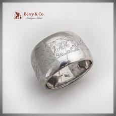 Large Engraved Napkin Ring Dutch 833 Standard Silver 1920