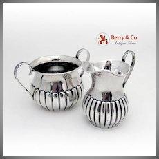 Durgin Creamer Sugar Bowl Fluted Bodies Sterling Silver 1900
