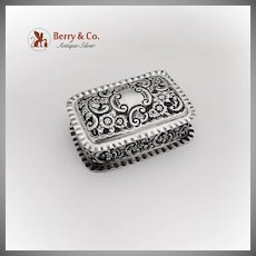Repousse Floral Scroll Soap Box Pie Crust Rims Sterling Silver Chester 1903