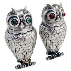 Vintage Figural Owl Salt Pepper Shakers Red Green Eyes 830 Silver Alpaca 1930