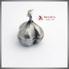 Vintage Garlic Form Pill Box Sterling Silver Mexico