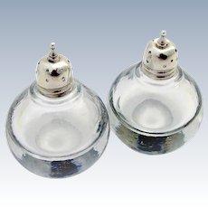 Vintage Heavy Spheric Glass Salt Pepper Shakers Sterling Silver 1940