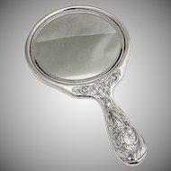 Acid Etched Foliate Round Hand Mirror Gorham Sterling Silver 1920