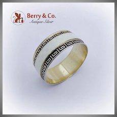 Greek Key Guilloche Enamel Gilt Napkin Ring Scandinavian Sterling Silver