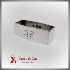 Small Rectangular Napkin Ring Monogrammed Danish 830 Silver 1932