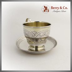 Floral Engraved Cup And Saucer Gilt Interior Russian 84 Silver 1879