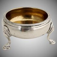 Antique Round Footed Open Salt Dish David Mowden Sterling Silver London 1763