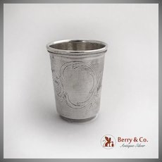Engraved Russian Vodka Shot Cup 84 Standard Silver 1900
