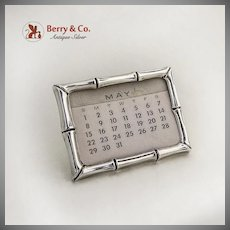 Tiffany And Co Bamboo Design Desk Calendar Sterling Silver 1960