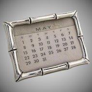 Tiffany And Co Bamboo Design Desk Calendar Sterling Silver 1960