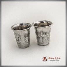 Engraved Vodka Cups Pair Architectural Decorations 84 Standard Silver 1900