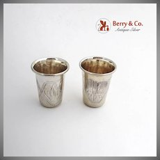 Russian Engraved Shot Cups Pair Royal Court Warrant 84 Standard Silver 1890