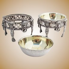 Vintage Whimsical Open Salt Dishes Pair Gilt Interior Coin Silver 1860