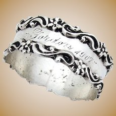 Floral Scroll Narrow Napkin Ring National Silver Co Sterling Silver