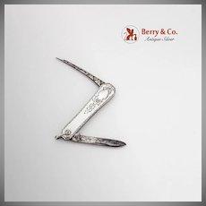 Engraved Folding Pocket Knife Steel Blades Sterling Silver 1920