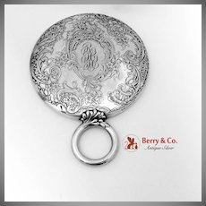 Acid Etched Chased Floral Scroll Hand Mirror Ring Handle Gorham Sterling Silver