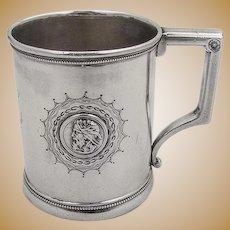 Medallion Engraved Cup Mug Male Female Warrior Gorham Coin Silver
