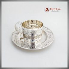 Alphabet Vine Birds Baby Cup Bowl Set William B Kerr Sterling Silver 1900
