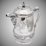 Vintage Large Ornate Lidded Pitcher Double Walled Silverplate 1890
