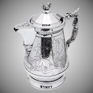Large Ornate Lidded Pitcher Figural Lady Handle Ceramic Liner Silverplate 1890