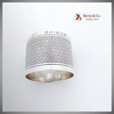 Vintage English Napkin Ring Wavy Pattern Sterling Silver Birmingham 1908