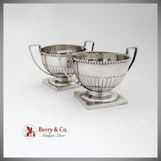 Vintage Pedestal Open Salt Dishes Pair Beaded Rims Sterling Silver