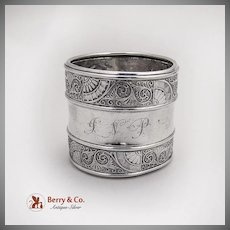 Aesthetic Arabesque Style Napkin Ring Gorham Sterling Silver 1881 Date Mark