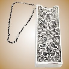 Repousse Floral Chatelaine Eyeglass Case Henry Frazer Sterling Silver London 1890