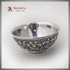 Vintage Ornate Floral Bowl Chinese Sterling Silver