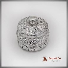 Repousse Floral Dresser Jar American Sterling Silver 1900