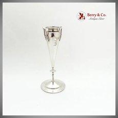 Vintage Bud Vase Palm Frond Handles Engraved Mono Gorham Sterling Silver 1868
