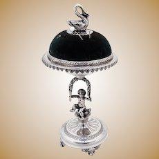 Ornate Figural Cherub Wreath Swan Pin Cushion Stand Sterling Silver 1900