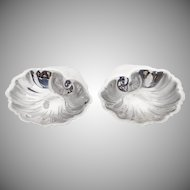 Shell Form Nut Cups Pair Sterling Silver 1945